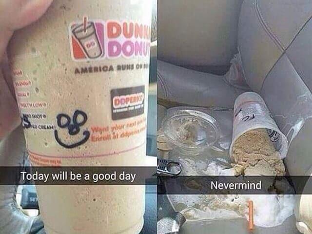 Zwei Snaps, ein erstes mit einem vollen Blastikbecher Milkshake und der freudigen Hoffnung auf einen guten Tag, im zweiten Bild ist der Milkshake ausgeleert und die Hoffnung zunichte.