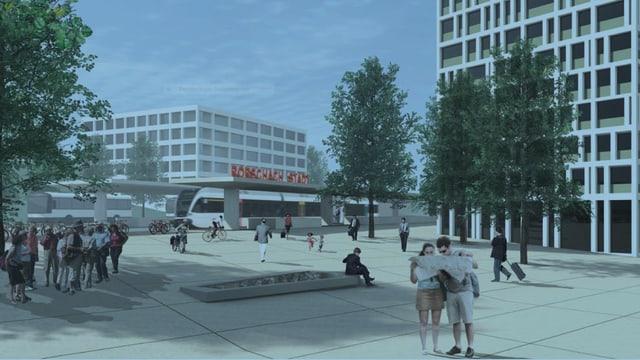 Visualisierung des neuen Rorschacher Stadtbahnhofs