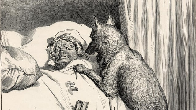 """Zeichung zum Märchen """"Rotkäppchen"""". Der gierige Wolf beugt sich über die kranke bettlägrige Grossmutter, um sie zu verschlingen."""