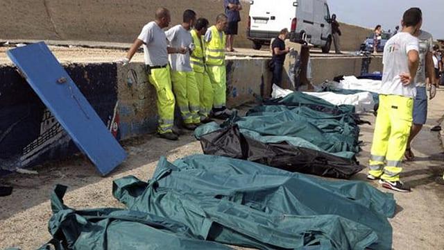 Grüne Leichensäcke auf Lampedusa.