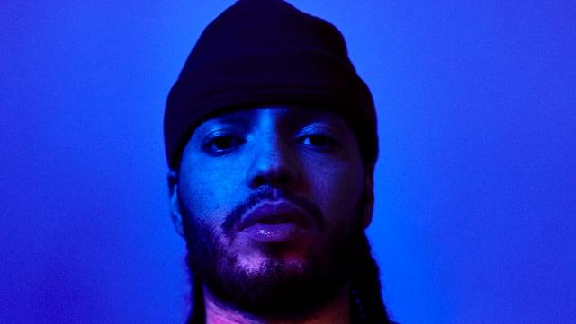 Blaue/rotes Portrait des Rappers Dawill