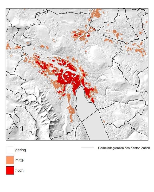 Eine Wärmebelastungskarte der Stadt Zürich. Im Zentrum ist die Belastung hoch.