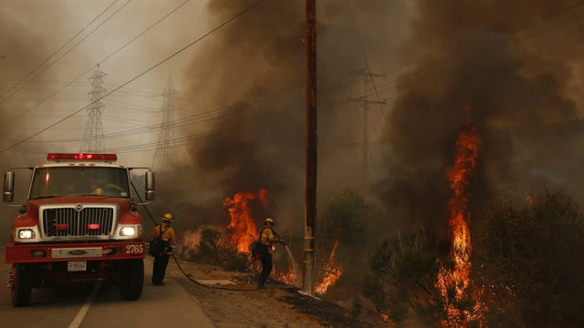 Feuerwehrleute kämpfen gegen einen Buschbrand.