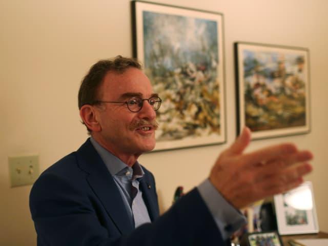 Randy Schekman, Professor an der Universität von Kalifornien, bei einem Pressetermin in seinem Haus.
