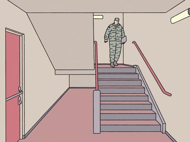 Mann in Tarnanzug kommt eine Treppe herunter