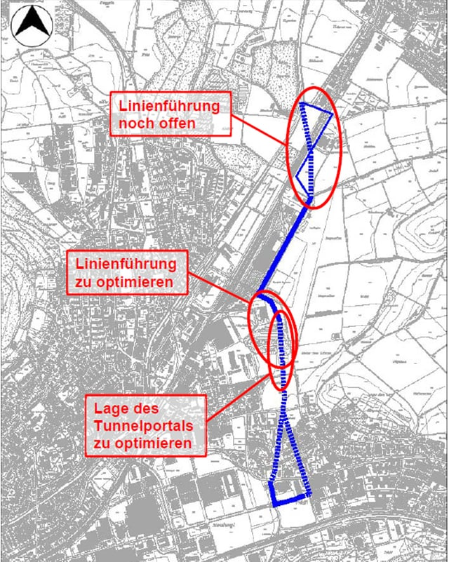 Der Plan zeigt die geplante Strassenführung durch das Quartier Hegi.