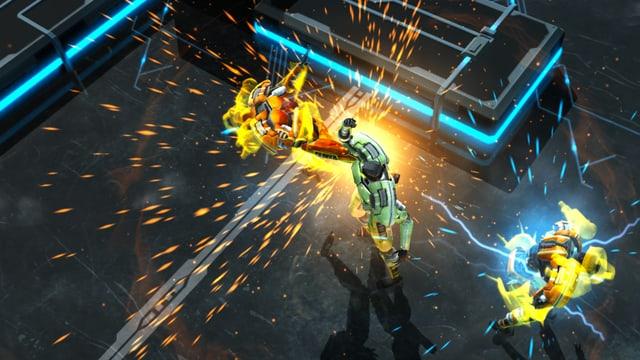 Ein Robo haut einen Gegner weg.
