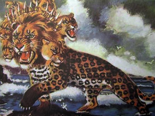 Tiger mit mehreren Köpfen in der Apokalyspe