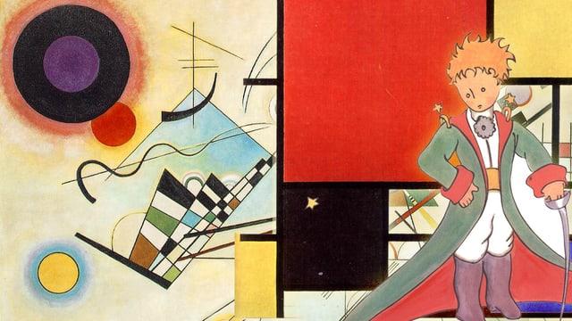 Eine Collage aus Werken von Kandinsky, Mondriaan und de Saint-Exupéry.