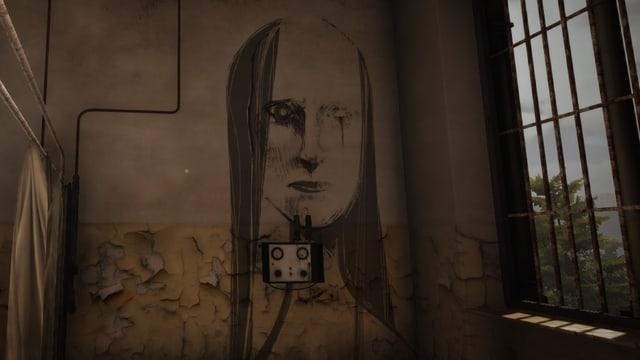 Ein Apparat an der Wand, darüber ein Wandgemälde eines Frauenkopfes.