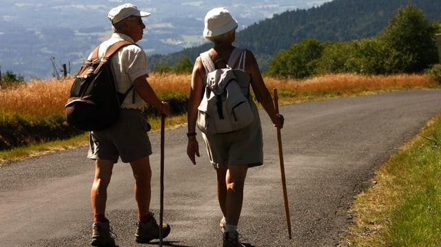 Ein Rentnerpaar wandert einer Überlandstrasse entlang. Beide tragen einen Spazierstock. Links ist ein Kornfeld zu sehen.