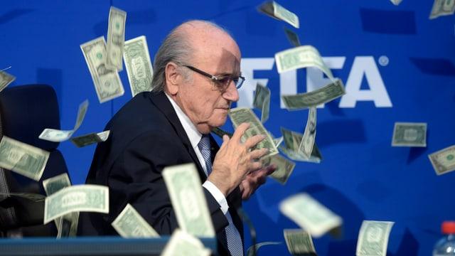 Joseph S. Blatter im Geldregen.
