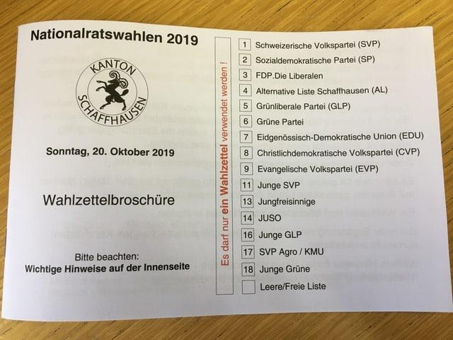 Wahlunterlagen Kanton Schaffhausen