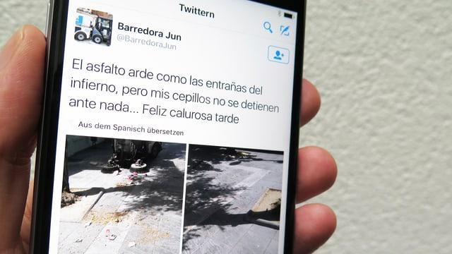 Aufnahme eines Tweets, das eine Strasse zeigt.