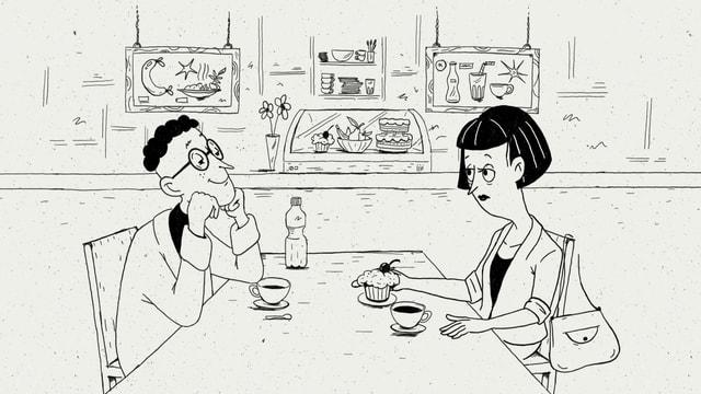 Eine Illustration von Nino Christen zeigt einen Mann und eine Frau beim Kaffee.