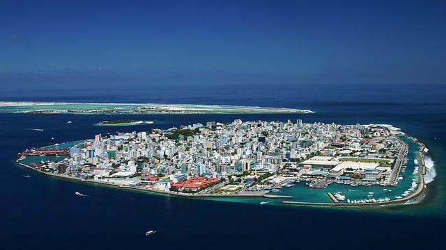 Malé, die Hauptstadt der Malediven, in einer Aufnahme aus der Luft.