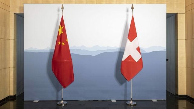 Bandieras da la China e da la Svizra