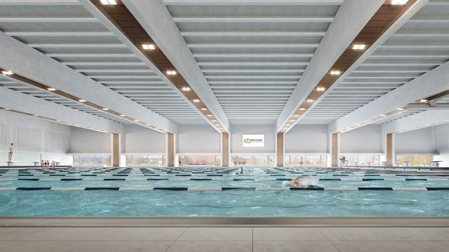Die neue Schwimmhalle in Sursee von Innen.