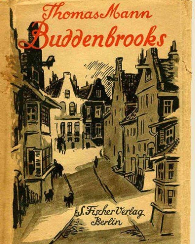 Buchumschlag: Gezeichnet ist ein Strassenzug in einer Stadt. Vermutlich Lübeck, Mitte des 19. Jh.