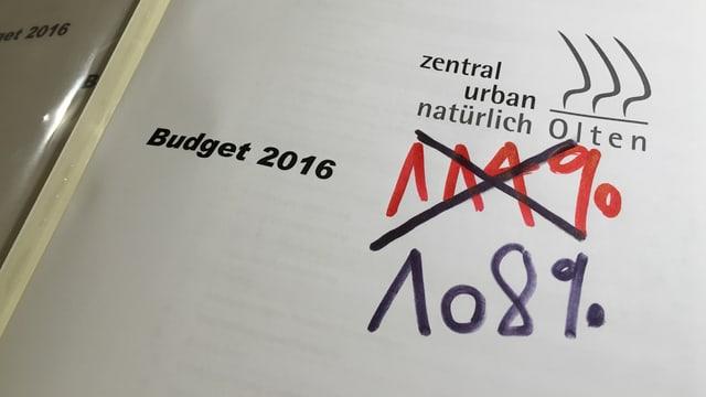 Ein Heft mit der Aufschrift Budget 2016. Darauf zwei Zahlen in Handschrift.