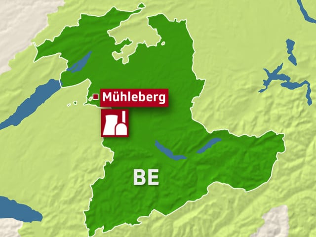 Karte Kanton Bern mit AKW Mühleberg