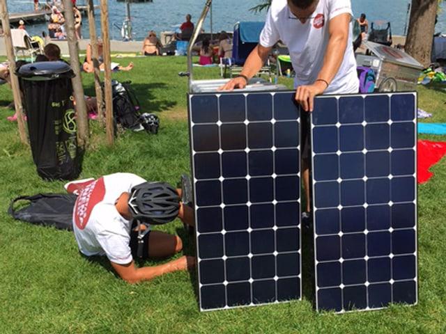 Das Solar-Kino wird in der Badi Horgen aufgebaut.