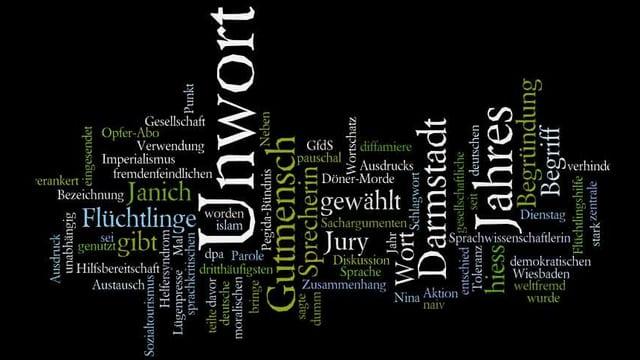 Viele Wörter im Bild.