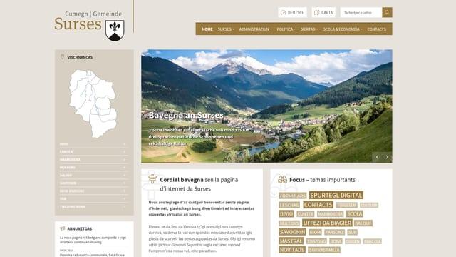 La nova pagina d'internet da la vischnanca Surses.