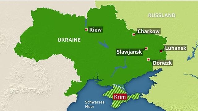 Karte der Ostukraine: In Luhansk und Donezk soll heute abgestimmt werden.