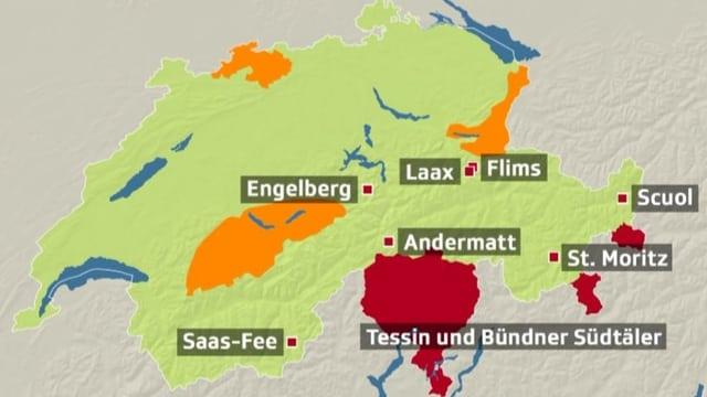 Eine Schweizer Karte mit Gemeinden, die Feuerwerksverbot haben