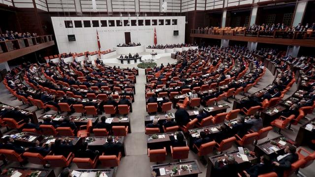 Blick in den Parlamentssaal der Türkei in Ankara.