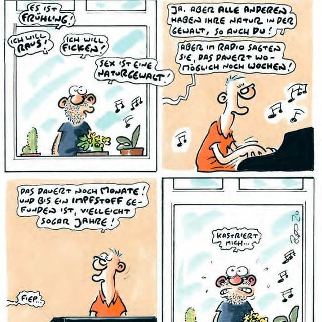 Comic Ausschnitt mit Mann am Fenster und Mann am Kalvier