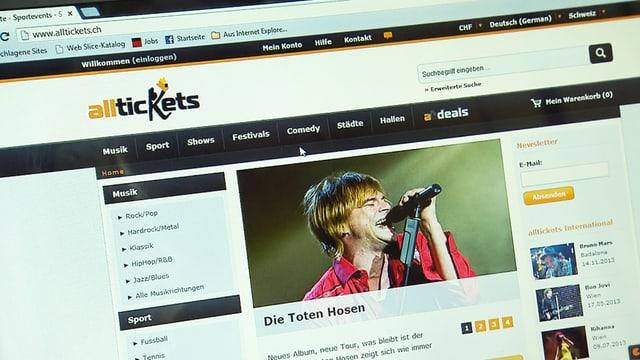 Screenshots Alltickets.ch