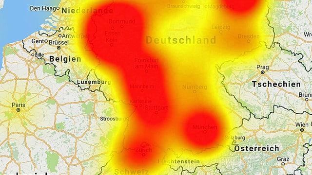Karte mit roter Einfärbung jener Länder Europas, aus der die meisten Störungsmeldungen stammen.