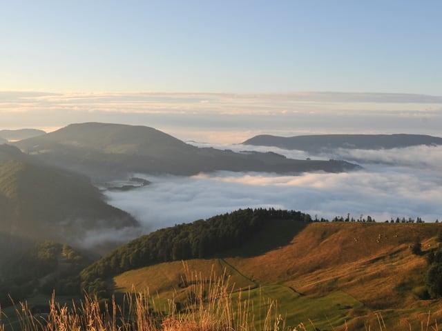 Die Hügel mit Wälder und Wiese werden von der Morgensonne bereits beschienen. Zwischen den Hügel hat es Nebel. Der Himmel ist abgesehen von wenigen Wolkenfeldern blau.