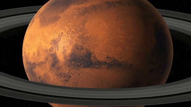 Der Planet Mars mit grafisch eingefügten Ringen um seinen Äquator.