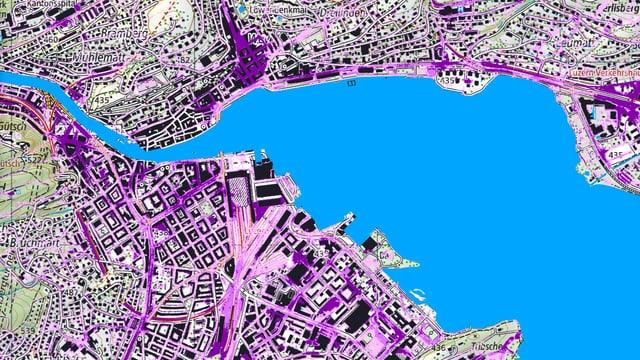 Karte der Stadt Luzern mit dem Vierwaldstättersee