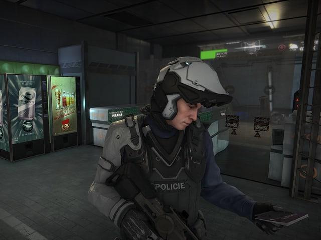 Polizistin checkt Jensen.