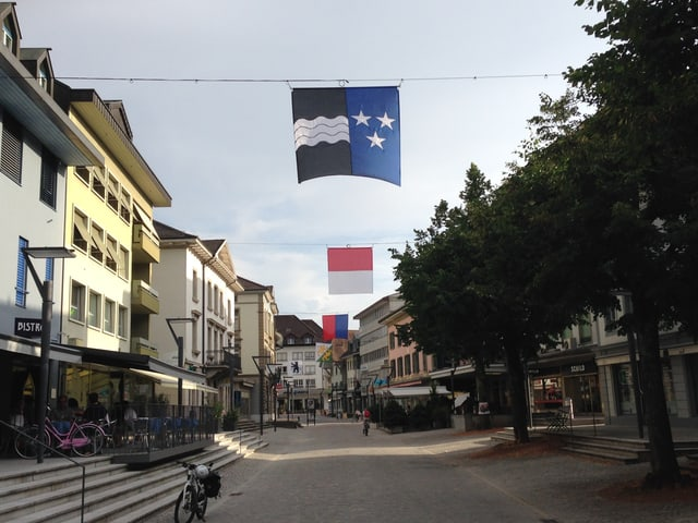 Blick in die Märitgasse, wo verschiedene Kantonswappen aufgehängt sind, unter anderem die der Kantone Aargau und Solothurn.