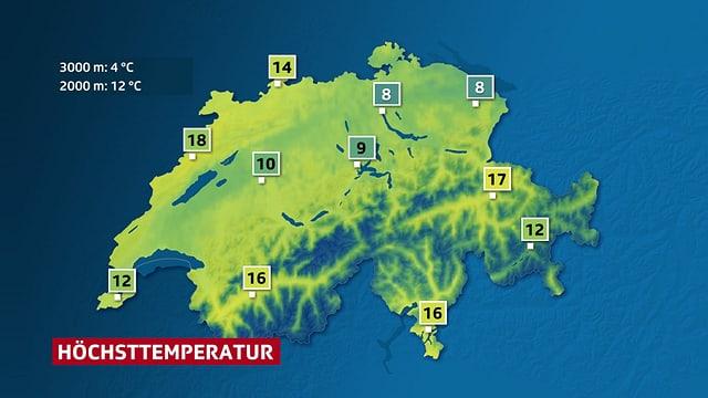 Eine Karte zeigt die Höchsttemperaturen in der Schweiz am Samstag