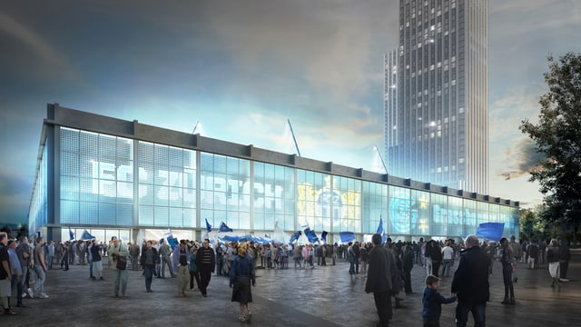 Visualisierung des neuen Stadions: Die Aussenwand des Stadions ist beleuchtet mit den Logos der Fussballclubs.