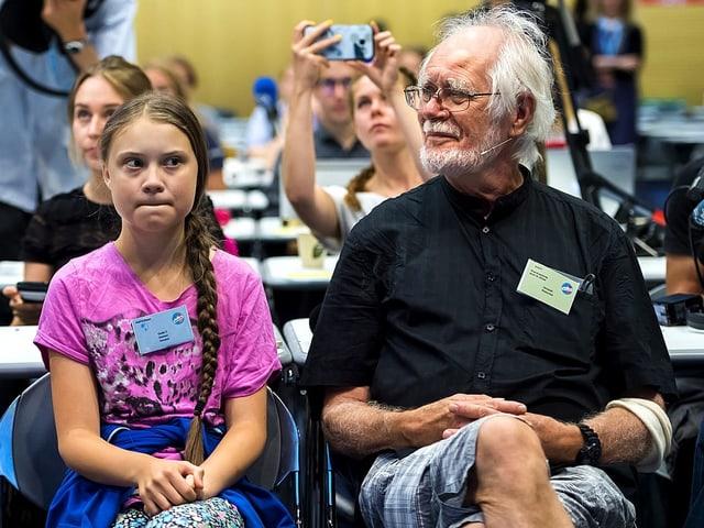 Umweltaktivistin Greta Thunberg und Chemie-Nobelpreisträger Jacques Dubochet am Jugend-Klimagipfel «Smile for Future» in Lausanne.