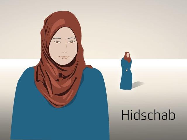 Illustrierte Frau mit Hidschab.