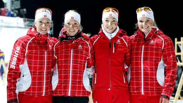 Die Schweizer Biathlon-Frauenstaffel.