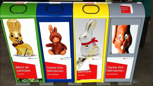Möglicher Container für Schokoladen-Recycling.