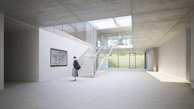 Visualisierung des Haupttreppenhauses im geplanten Erweiterungsbau.