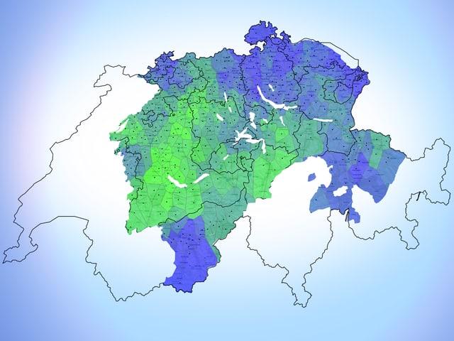 Eine Schweizer Karte, auf der die Deutschschweiz blau und grün eingefärbt ist.