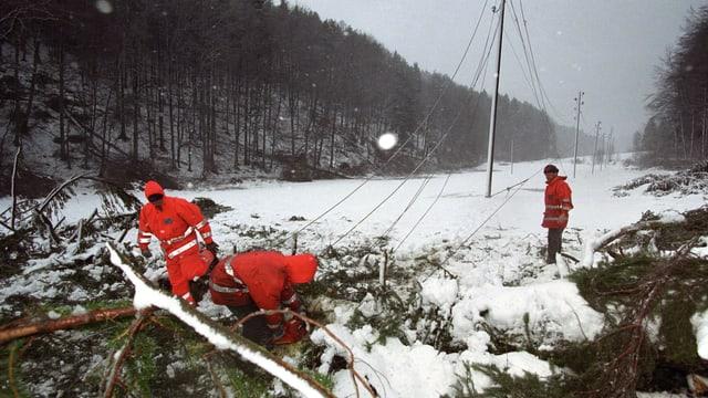 Monteure der Bernischen Kraftwerke reparieren eine umgeknickte Hochspannungsleitung.