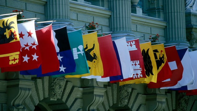 Las bandieras da plirs chantuns vid in mir d'ina chasa.