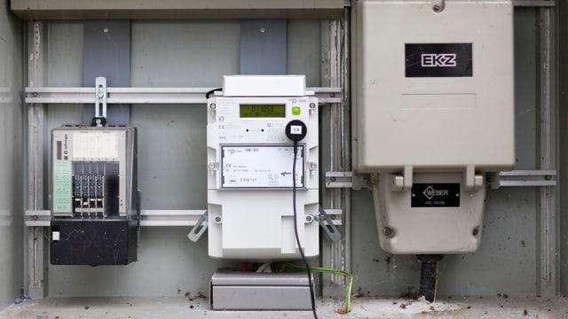 Ein neu installierter Smart Meter in einem Haus in Dietlikon im Kanton Zürich.